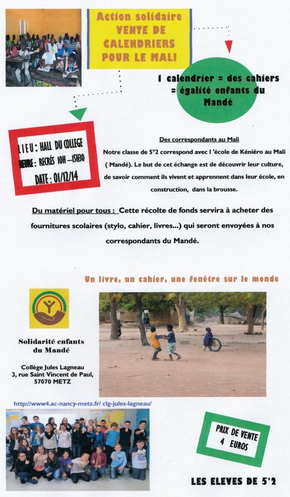 Promotion pour la vente des calendriers réalisés par les élèves du collège Jules Lagneau