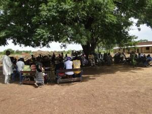 Villageois et 2AEFE sous le grand néré pour la remise officielle du projet d'électrification de l'école de Kaka